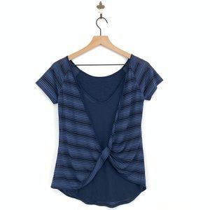 Athleta Twist Back Sun Stripe Tee XXS Navy Blue